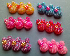 4x AB  triple rabbit head ,cabochon, embellishment  flatback, hairclip,