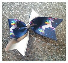 Navy Unicorn With Metali Silver Lycra Cheer Bow Cheerleading Dance Hair Bow