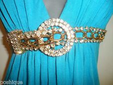 Sky Clothing Brand S Dress Rhinestone Crystal Gold Belt Turquoise Blue Holiday