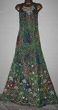 ᴥᴥFAB MONSOON ORIGINALS SZ 8 LATIMER BLUE GREEN MAXI DRESS PROM PARTY SEQUINSᴥᴥ