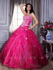 Tiffany 26662 Quinceanera Fuchsia Bubble Gum Pink Ball Gown Dress sz 14