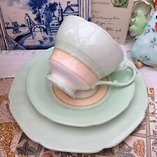PARAGON FINE CHINA 1930s TRIO CUP SAUCER PLATE SET GREEN CREAM HM QUEEN HM QMARY