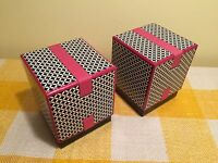 Presentation Gift Present Boxes - Pink Black White Patterned - 11cm x 9cm x 9cm