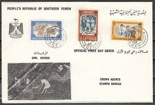 / Yemen, People`s Rep., Scott cat. 19-21. Girl Scouts on a First day cover.