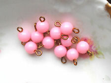 #880B Vintage Connectors Drops Dangles Pink Acrylic Round Component NOS Findings