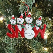 Snow Family of 4 Personalized Christmas Tree Ornament