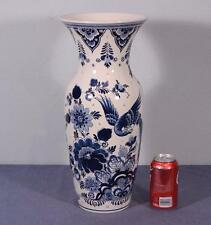 "17"" XL Vintage Delft Tin Glazed Faience Vase by Royal Goedewaagen"
