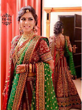 Beautiful Red Green Designer Bollywood Indian Bridal Wear Wedding Lehenga Choli