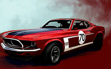 Framed Print - Ford Mustang Boss 302 American Muscle Car (Picture Poster Art)