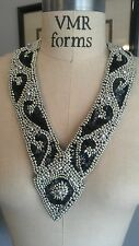 LONG V neckline COLLAR Bead & Sequin Applique - BLACK & SILVER