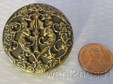 antique French stamped repousse brass RENAISSANCE CHERUB ANGELS BUTTON 37mm