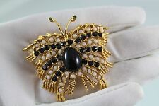 Collectible Vintage Hattie Carnegie BUTTERFLY  Black Lucite  Brooch Pin