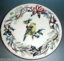 """Lenox Winter Greetings GOLDFINCH Accent Luncheon Plate 9.25"""" New"""