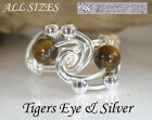 Sterling Silver 925 Tigers Eye Gemstone Protective Healing Crystal Ring ALL SIZE
