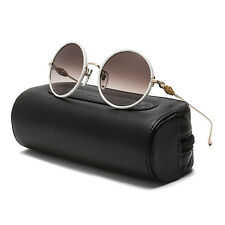 Chrome Hearts Ovaryeasy Sunglasses Gold White Leather Frame Brown Gradient Lens
