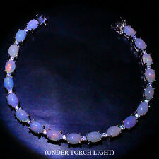 Sterling Silver 925 Genuine Natural Cabochon Opal Tennis Bracelet 7 Inches #2