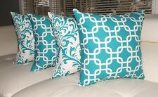 Turquoise Pillow, Damask Accent Pillow, Geometric Gotca Turquoise Pillow Set