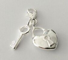 LOVELY SILVER LOCK HEART WITH KEY CLIP ON CHARM FOR BRACELET -SILVER PLATE - NEW