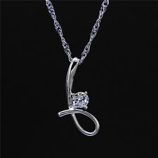 Women Fashion Simple 925 Silver Jewelry Crystal Pendant Necklace Chain Gift