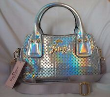 """JUICY COUTURE Perforated Iridescent Silver """"Mini Sporty Triple"""" Satchel - NWT"""