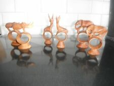 Vintage teak carved napkin rings. Elephants, Rhinos, Deer.