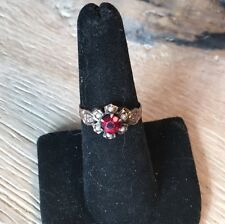 Antique Georgian Garnet And Seed Pearl 10k Rose Gold Ring