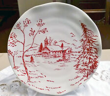 """Maxcera Christmas """"Holiday Toile"""" - Beautiful Dinner Plate in Red & White"""