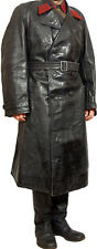 Vintage Russian Military Uniform Leather Trench Coat NKVD WW2 Cape Officer USSR
