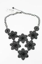 M. Haskell Black-Filigree Flower Frontal Necklace