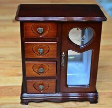 Vintage Wooden Jewelry Box Storage Organizer Heart Motif Mahogany Blue Lining