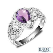 HOT SALE Women Jewelry Romantic Purple Amethyst Antique Silver Ring Size 7