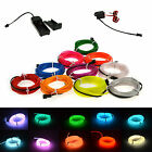 LED Light Glow EL Wire String Strip Rope Tube Car Dance Party + 3/12V Controller