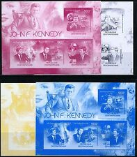 CENTRAL AFRICA 2012 PRES. JOHN F. KENNEDY SET OF FOUR PROGRESSIVE SHEETS MINT