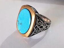 Turkish Ottoman Vintage Turquoise Stone 925 K Sterling Silver Mens Ring 13 gr