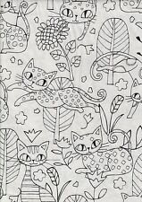 Black White Cool Cats FQ - 100% cotton quilting fabric - 50 x 55 cms