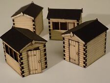 4 x garden sheds wooden NEW (made with REAL WOOD!) 00 scale- Free P&P- laser cut