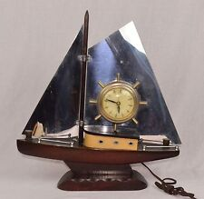 VINTAGE WORKING UNITED SAILBOAT SHIP MANTLE CLOCK SHIPS WHEEL ~ SUPER RARE