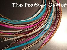 Lot 20 Grizzly Feathers Hair Extensions saddle Natural Pink Blue Brown NT COMBO2