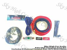 Oversized 8 Ga AWG Amp Kit w/ Twisted RCA Red Black Complete Sky High Car Audio