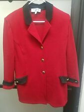 St. John Collection Jacket/Blazer Russian Red w/ Black Ultra Suede Trim Size 14