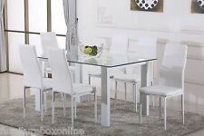 HAVANA High Gloss Glass Dining Table Set and 6 White Faux Leather Chairs Seats