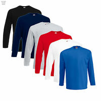 Pack of 5 Fruit of The Loom Long Sleeve Cotton T Shirt Work Casual Leisure Smart