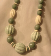 Striking Cream & Seafoam Green Marbled Acrylic Beads Long Pendant Necklace