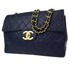 Auth CHANEL Matelasse XL JUMBO Quilted Chain Shoulder Bag Leather Blue 613L190