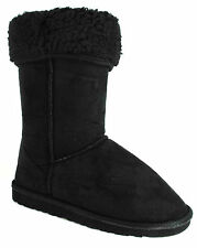 WOMENS NEW LADIES BLACK MIDCALF FAUX SUEDE FUR LINED WINTER STYLE BOOTS 888