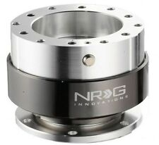 NRG BALL LOCK QUICK RELEASE STEERING WHEEL SILVER BODY & BLACK CHROME RING