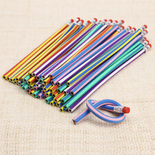 50 Colorful Stripe Magic Bendy Flexible Soft Pencil With Eraser For Kids Writing