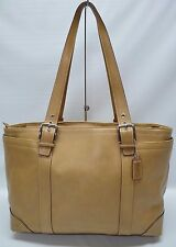 Coach Rare XL Camel Tan Leather Diaper Laptop Multi function Tote Carryall 10288