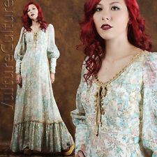 RARE Vintage 70s Boho Hippie Wedding Dress Floral Renaissance Angel Maxi S