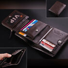 $100 Men's ITALIAN Genuine Leather Trifold Pocket Wallet Purse BLack Luxury New